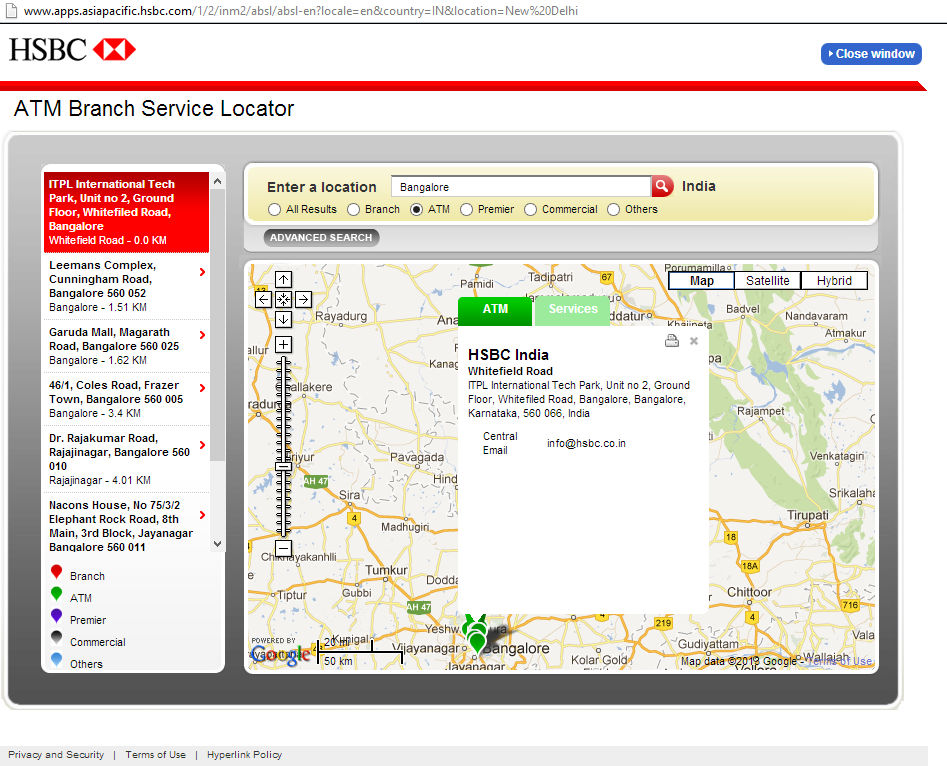 Snapshot of HSBC India Online Branch Locator