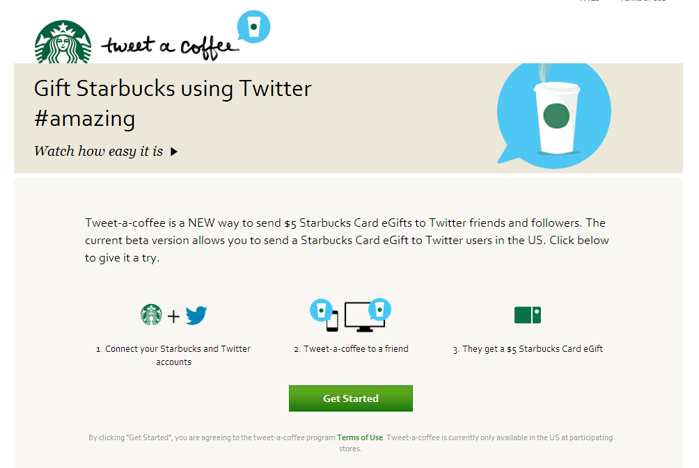 Tweet A Coffee   Starbucks Coffee Company